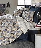 Cremieux Brenton 3 Piece King Quilt Set - Chambray Denim & Stripe