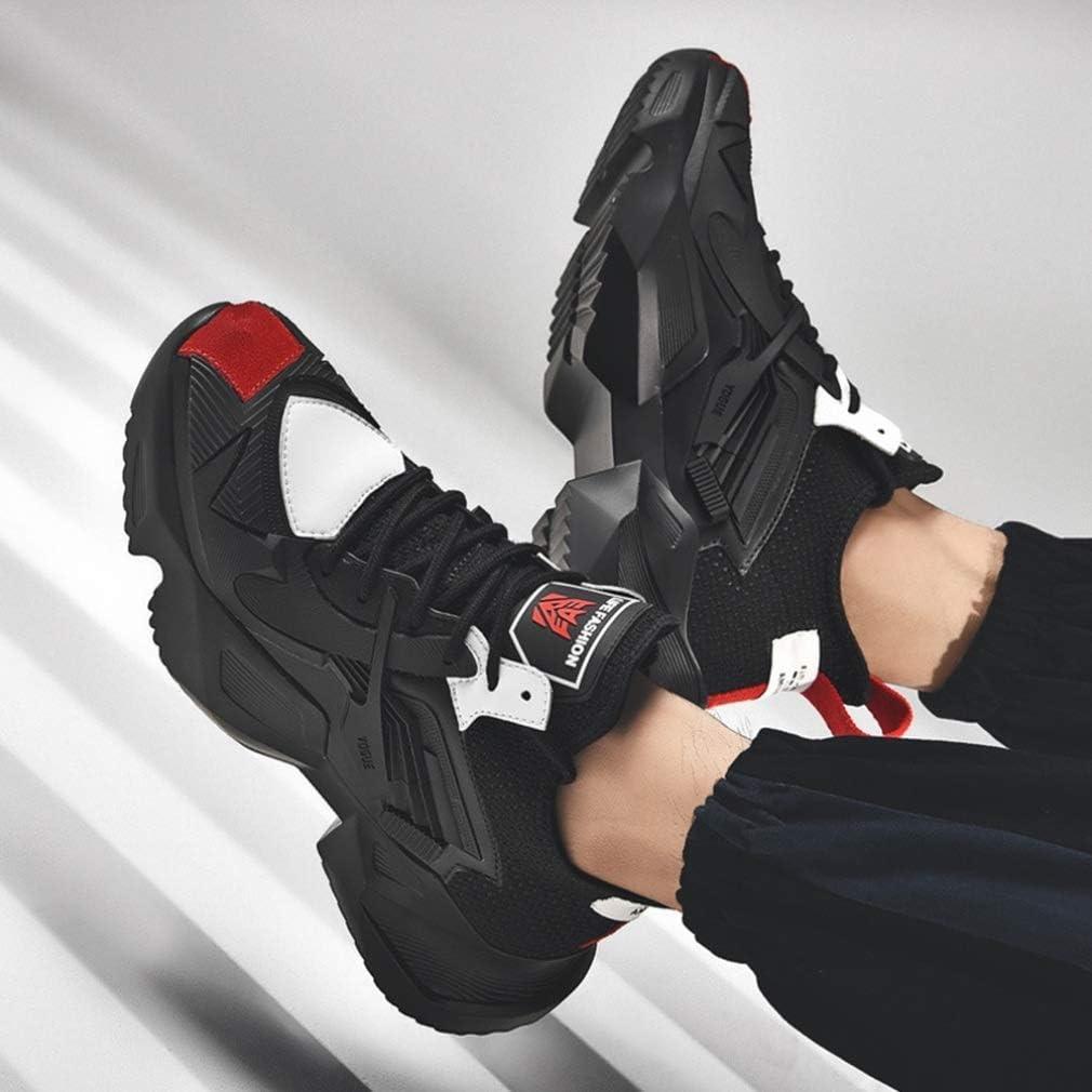 Heren Sport Casual Schoenen Platform Anti Slip Lace up Ademende Sneakers Outdoor Walking Fintness Running Trainers jilisay Black Red