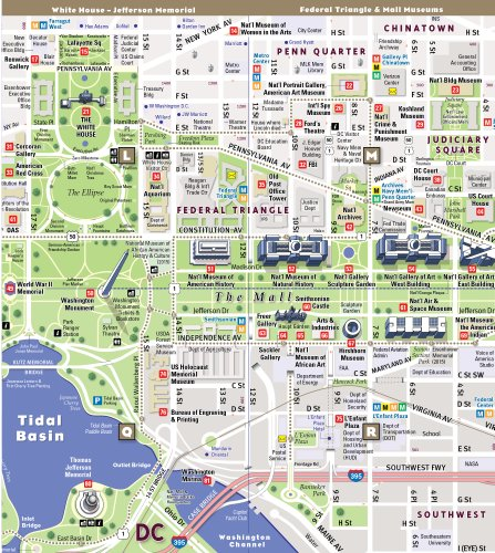 Mall Dc Map.Streetsmart Washington Dc Map By Vandam Laminated Pocket Import