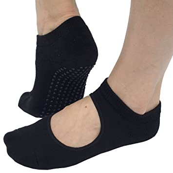 Topwhere® Calcetines de Ballet para Mujeres para Pilates Yoga Dance Low Cut Socks Calcetines Deportivos Antideslizantes de Algodón (Negro): Amazon.es: ...