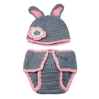 Neugeborene Baby Set Hasen Kostüm Strick Häkel Babymütze Babykostüm ...