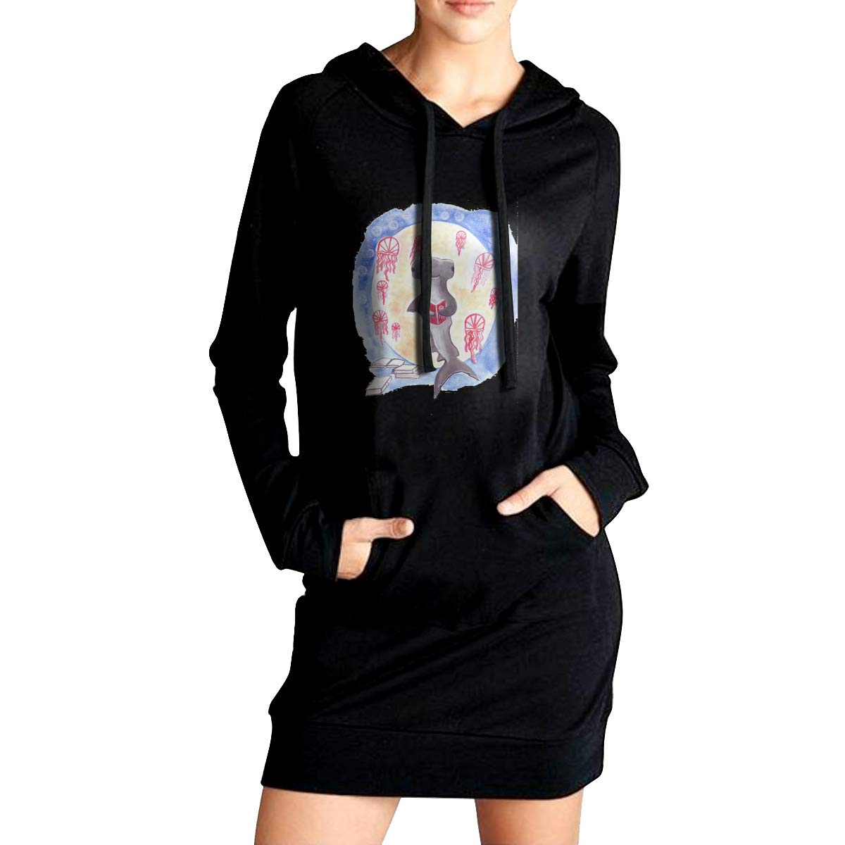 Northern Nebula Shark Womens Long Sleeve Hoodie Tunic Dress Solid Pullover Loose Sweatshirt Long Tops