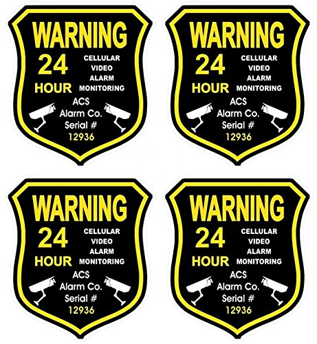 4 Pc Luxurious Unique Warning 24 Hour Cellular Video Alarm Monitoring Gps Security Sticker Sign Windows Boat Decals Hr Surveillance Business Window Premises Fence Property Signs Doors Size 3 5 X4