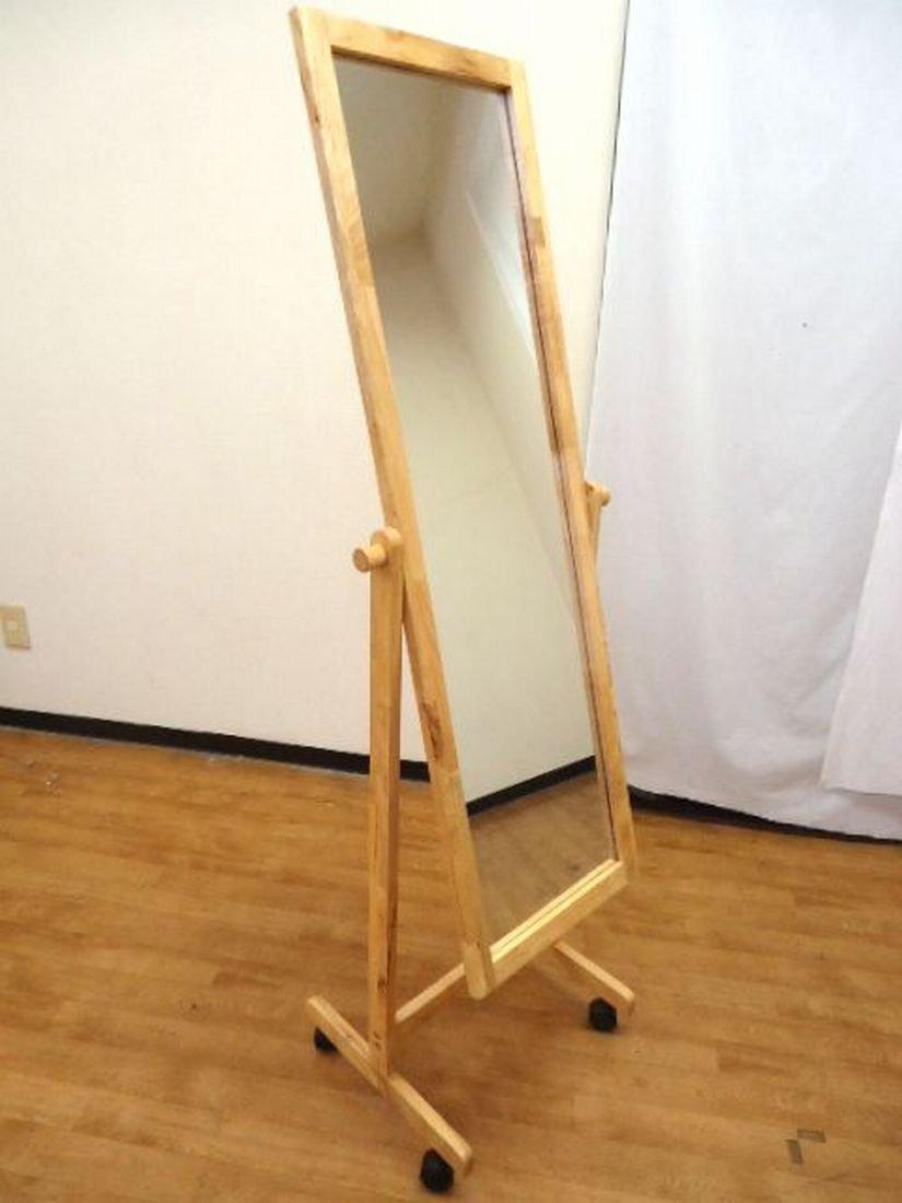 W-3015 木製 キャスター付き スタンドミラー 幅 48cm 奥行 40cm 高さ 150cm ( キャスター付 だから 簡単ラクラク移動 自分に合った角度に ミラー を 調節できる 全身 コーデイネート チェック 用 姿見 )( 鏡 面 : 幅30cm X 高さ113cm 材質: 天然木 : ラバーウッド )( キャスター付スタンドミラー 全身鏡 等身大 等身大ミラー 等身大鏡 全身ミラー ワイド 広幅 木枠 木枠フレーム 木枠ミラー 木製フレーム 全身 ドレッサー 姿見 軽量 スタンド スタンド式 スタンドタイプ フレーム カガミ かがみ ミラー スタンドミラー キャスター 付 鏡 ダンスレッスン ダンスレッスンミラー ダンスレッスン用ミラー 運動フォーム 鏡 化粧鏡 キャスター付きスタンドミラー ) B01FVFZ6FM