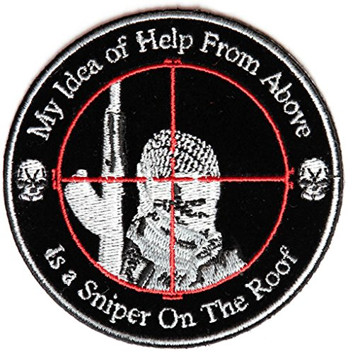"""My Idea of Help From Above, Sniper on the Roof Round Patch 3.5"""" Round Anti-t"""