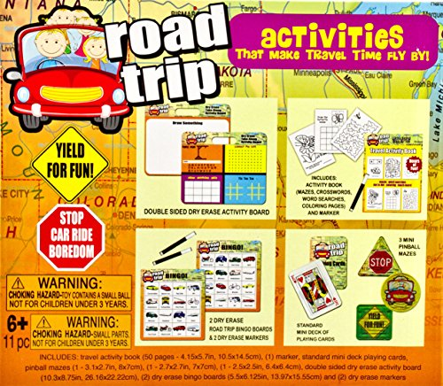 Road Trip Activities 5-In-1 Kit (11 Pc.), Includes 2 Road Trip Bingo Boards w/ Markers, 2-Sided Activity Board, Activity Book w/ Marker, standard Mini Deck of Playing Cards, & 3 Mini Pinball Mazes (Mini Bingo)