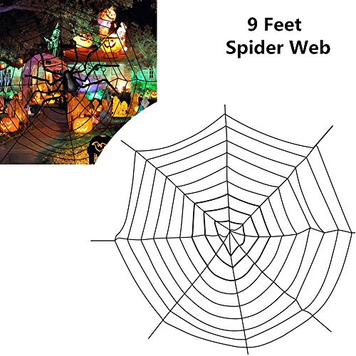 Giant Black Spider Web MerryMore 9 Feet Big Spiderweb Cobweb for Indoor Outdoor Halloween Decorations