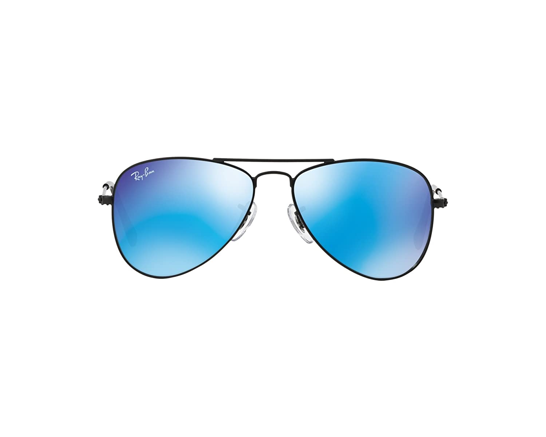 702f11ad1b2 Ray-Ban Junior Aviator Sunglasses in Matte Black Blue Mirror RJ9506 201 55  50  Amazon.co.uk  Clothing