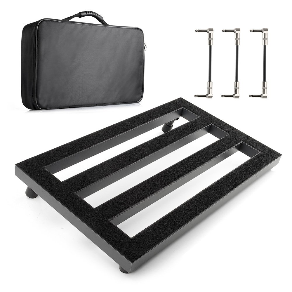 Vangoa - Guitar Pedal Board Aluminum Alloy 3.3lb. Lightweight Pedalboard 19.8'' x 11.5'' with Carry Bag, Guitar Pedal Cable