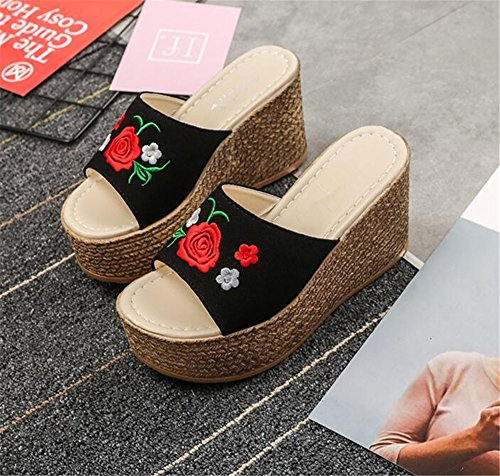 Slippers Women Sandals Sandals Black Sandals Waterproof Summer Platform Wedge pit4tk Beach Slippers XYZ40gn