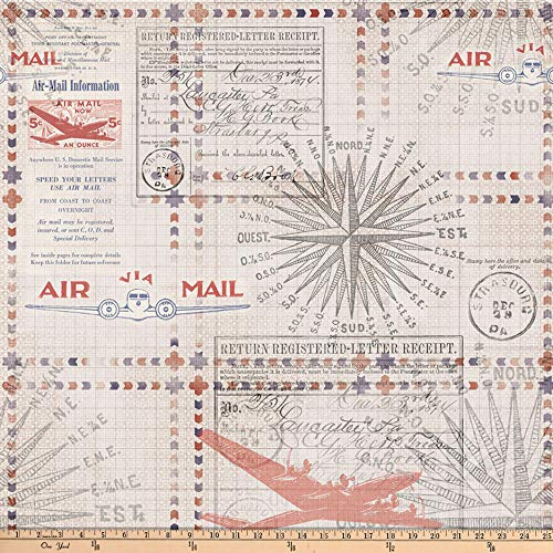 (Free Spirit Tim Holtz Correspondence in Transit Red Fabric by The Yard)