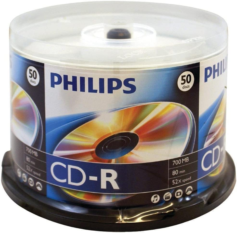 50 PHILIPS Music CD-R 40X  Branded Logo 700MB Audio Media Disc Spindle