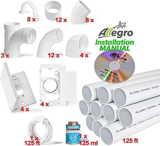 Central Vacuum 4-Inlet PVC Installation Kit Standard Wall Inlet Valve-NEW!!!