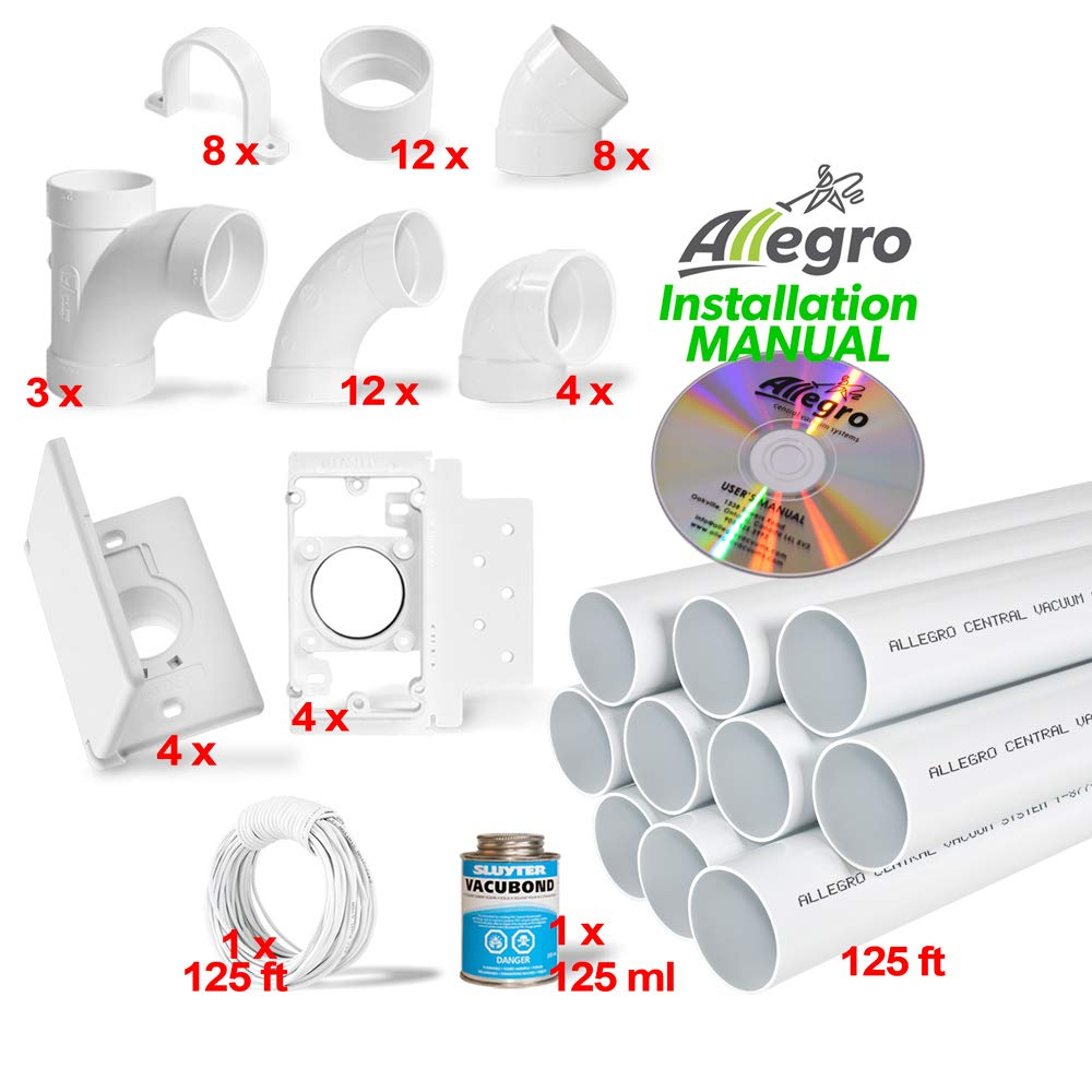 Central Vacuum 4-Inlet Installation Kit & 125 feet of Pipe All in a Box