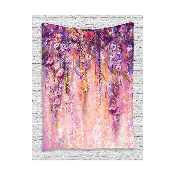 Ambesonne Watercolor Flower Decor Collection, Wisteria Tree in Blossom Romantic Flowers over Bokeh Picture Print, Bedroom Living Girls Room Dorm Accessories Wall Hanging Tapestry, Peach Aubergine