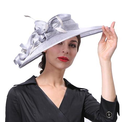 JuneŽs Young Sombreros para Mujeres de Boda Sombreros con Alas Anchas QuitaSol  Sombreros para Cóctel Epsom Derby  Amazon.es  Ropa y accesorios dd78307d355