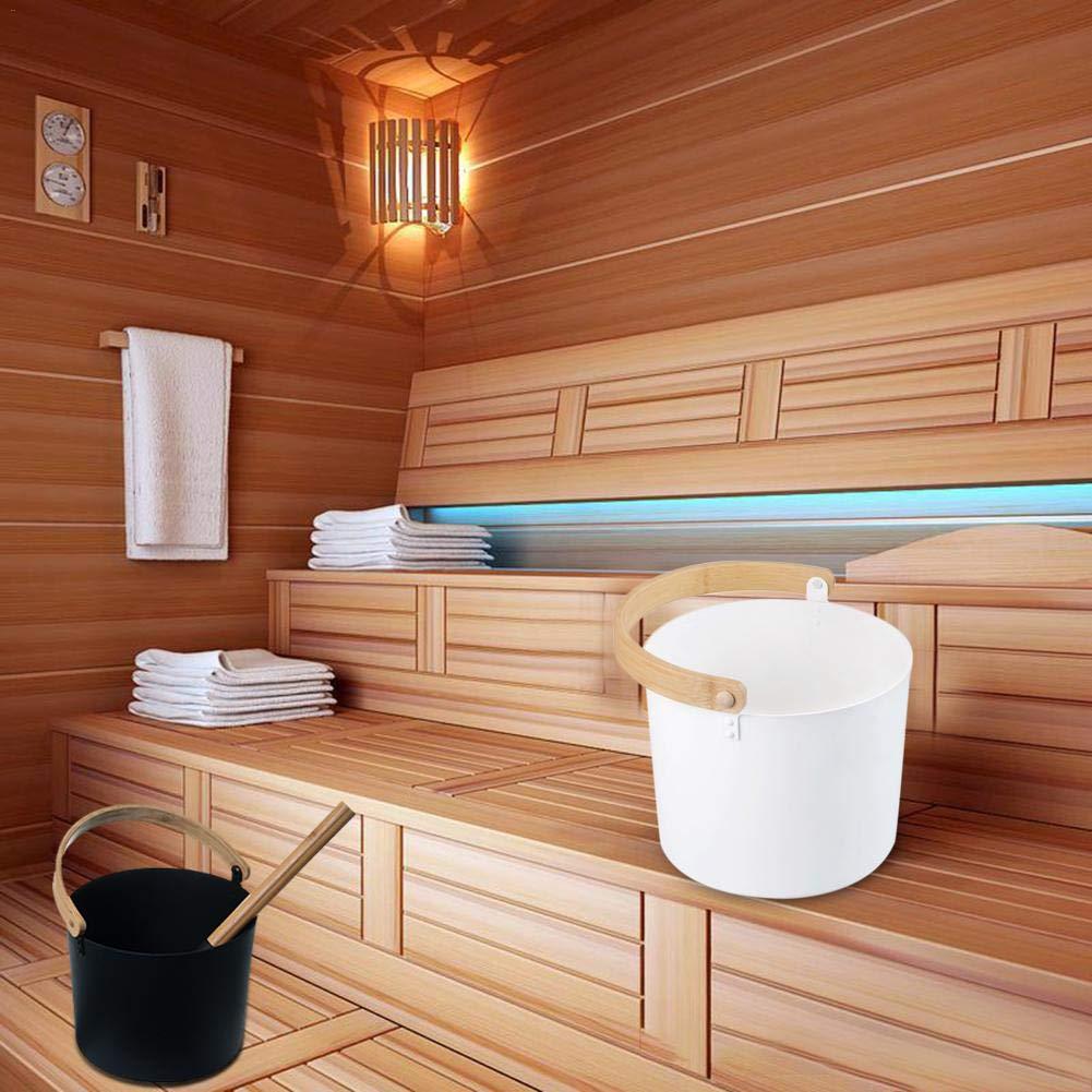 Accessoires pour hammams avec une cuill/ère /à long manche,Noir /& Blanc pleasure Benignpoet Aluminium Sauna Seau avec poign/ée en bois 7L