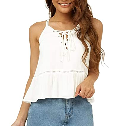 8f536018b405c2 Amazon.com - Women s Summer Sleeveless Criss Cross Ruffle Casual ...