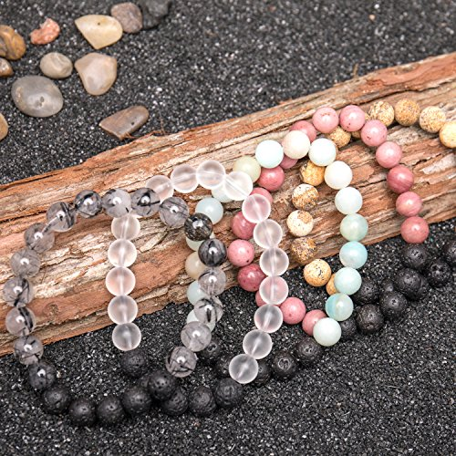 Bivei Lava Rock Stone Essential Oil Diffuser Bracelet - Natural Semi Precious Gemstone Beads Healing Crystal Bracelet(Set of 5) by Bivei (Image #1)