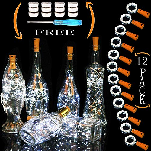 Cooo Decorative Bottles Component Cork Lights, Wine Bottle Lights with Cork 12 Pack 20 Led Lamp 36 Pre-Installed+12 Spare Battery Operated 7ft Used DIY Wedding Party Christmas Decoration-Cool White