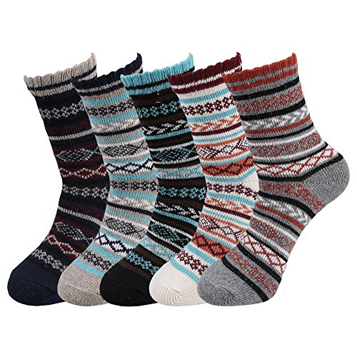 Fantastic Zone 5 Pairs Fashion Men Socks Winter Soft Warm Thick Knit Wool Crew Socks for Man ()