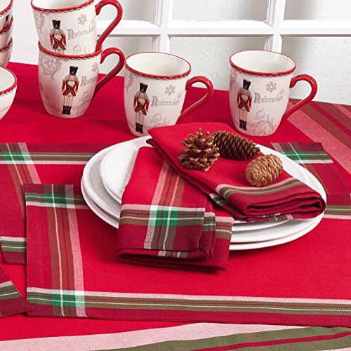 Occasion Gallery Red with Tartan Plaid Designed Boarder, Holiday Table Placemat (4 Piece Set), 14