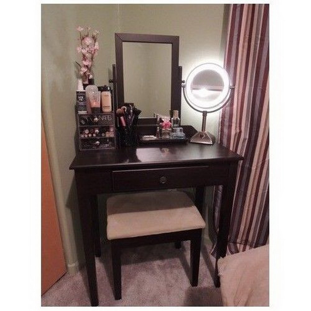 dark wood vanity table. Amazon com  Vanity Table Set Mirror Stool Bedroom Furniture Dressing Tables Makeup Desk Gift Kitchen Dining