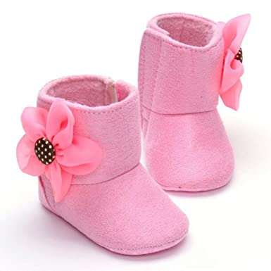 7383d1827724 Voberry Infant Baby Toddler Walking Girls Boys Crib Shoes Soft Flower Snow  Boots (2-