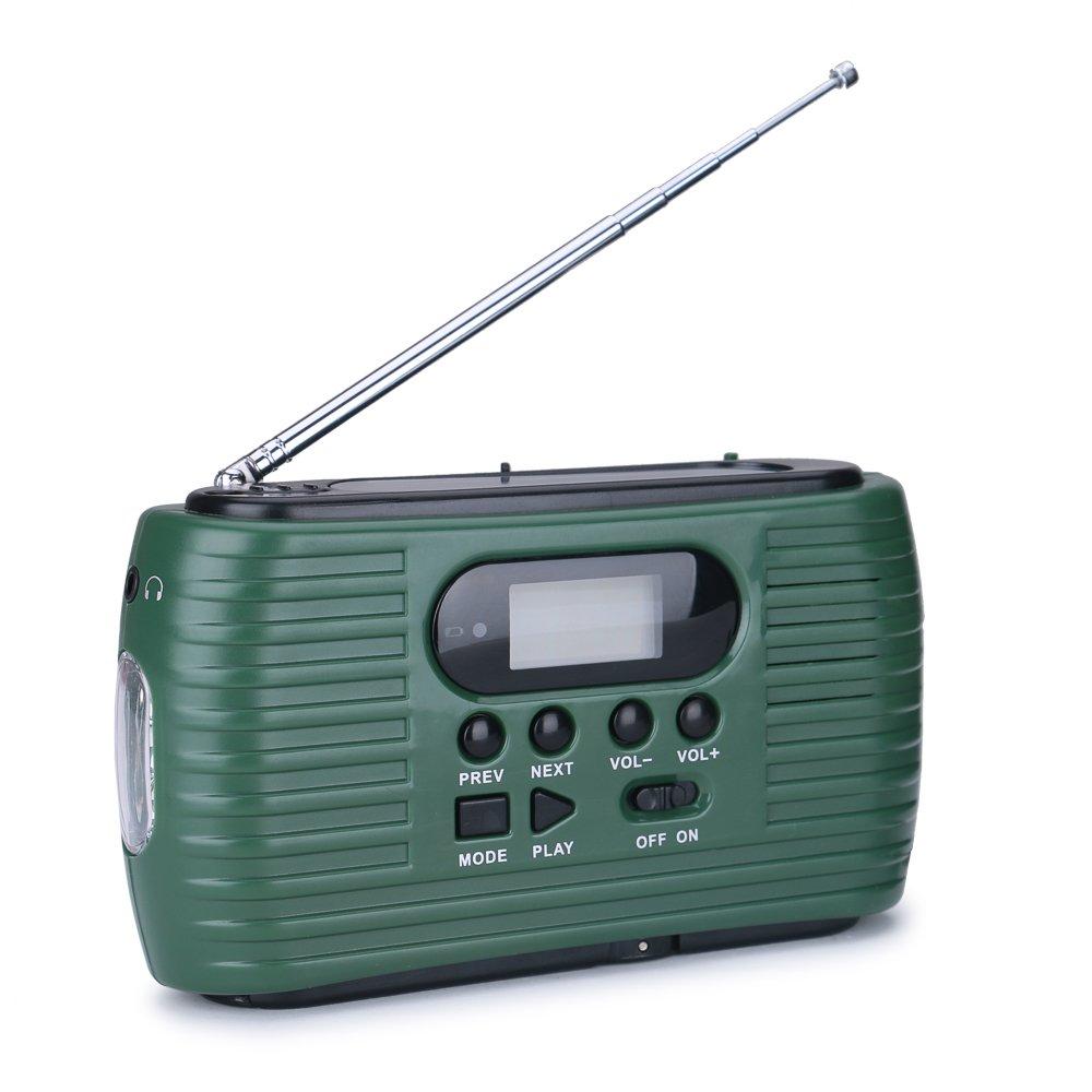 Tiemahun Emergency Windup Solar Hand Crank AM FM Radio Support Earphone, LED Display Automatic Search & Store, Micro SD TF Card MP3, 2500mAh Power Bank Flashlight Camping Survival Kit 323FS (Green)