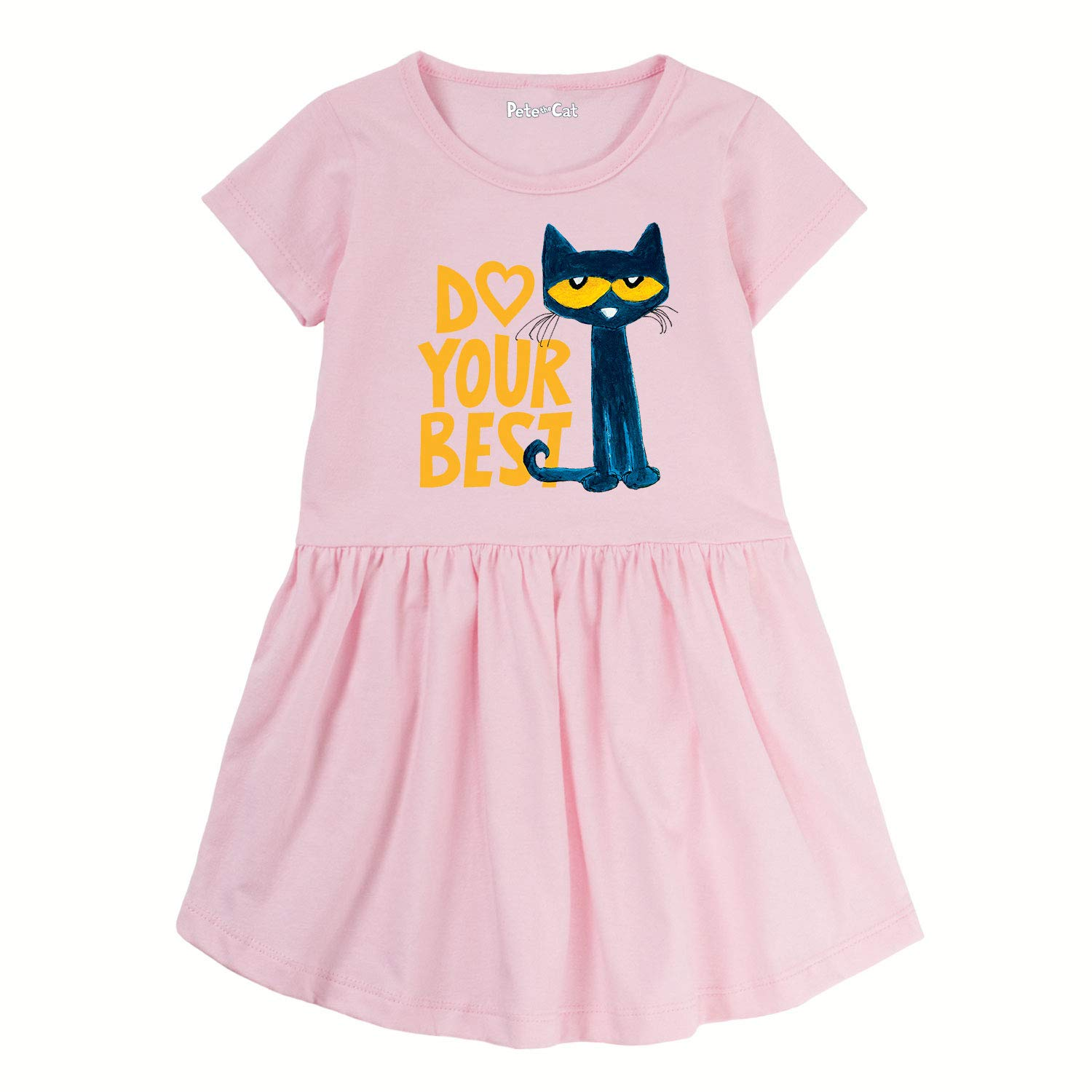 973c5ea6acd Amazon.com  Pete the Cat Do Your Best - Toddler Girl T-Shirt Dress  W Gathered Waist Light Pink  Clothing