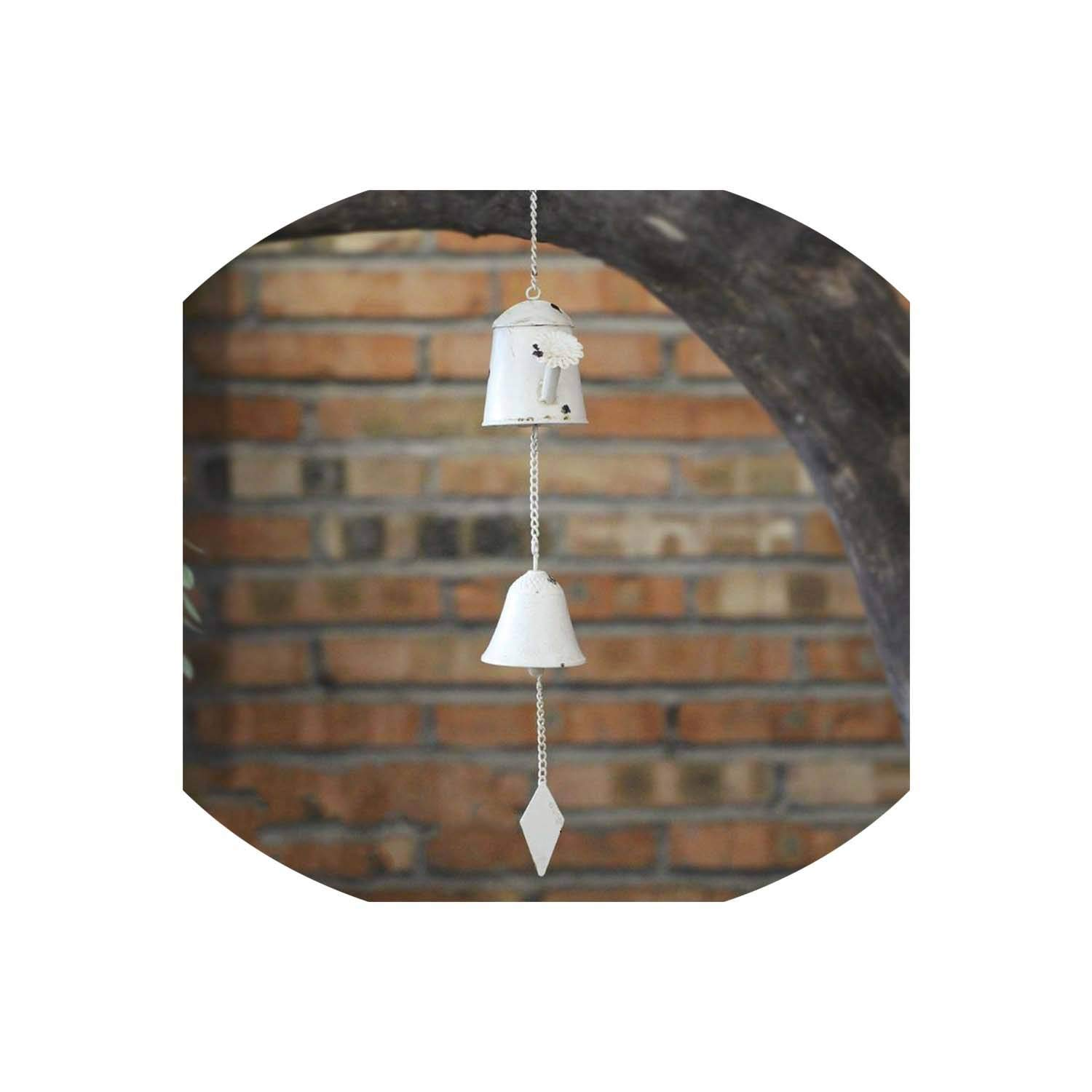 Metal Iron Bells Metal Pastoral Home Furnishing Door Decoration Creative American Country Colorful Wind Chime Gift Bell,White