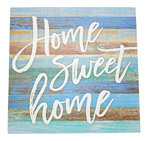 Home Sweet Home Small Wood Block Sign Coastal Decor, 5.5 x 5.5 x 1.5 Inches