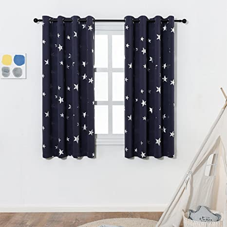 [MOTHERu0027S DAY]Navy Blue Star Print Blackout Curtains For Kids Room(2 Panels