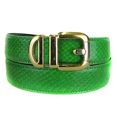 Apple Green Bonded Snake Skin High Quality Fashion Dress Belt