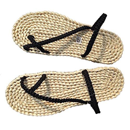 Qianle Mens Svart Fläta Handgjorda Halm Sandaler Tillfälliga Stranden Skor