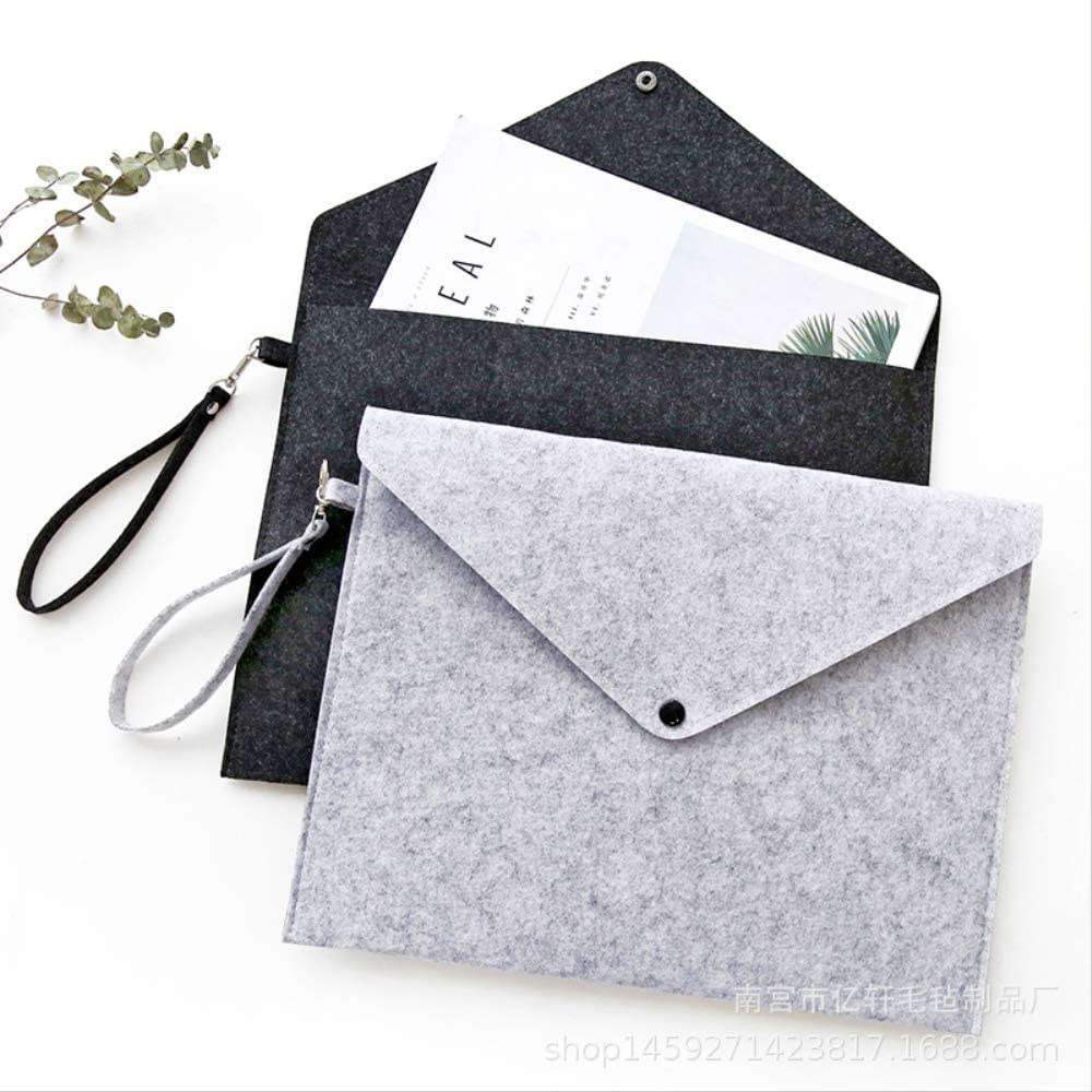 Simple Pure Wool Felt A4 Folder Large-Capacity Document Bag Business Brief Spaper Ipad Storage Bag Student Gifts Light Grey