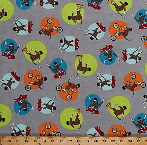 Cotton Sock Monkeys on Skateboards Bikes Rollerblades Skates Circles Grey Monkey Tales Kids Cotton Fabric Print by The Yard (26082-20) ()