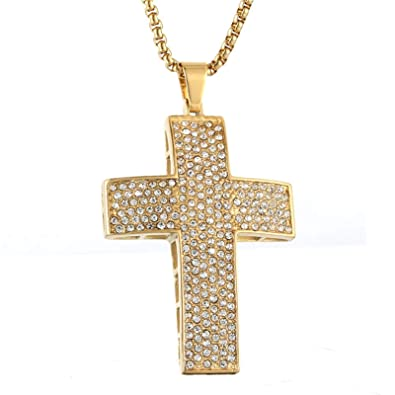 Beydodo Men Necklace Stainless Steel Cross Biker Necklace
