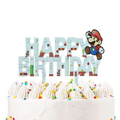 LILIPARTY Cartoon Mario Happy Birthday Acrylic Cake Topper Video Gaming Theme Birthday Party Decoration Suppliers (Gaming Scene): Toys & Games
