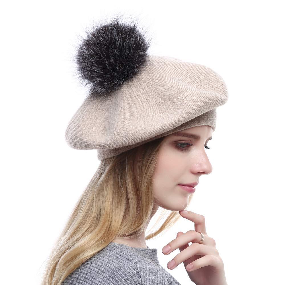 60d33da285e VEMOLLA Women Winter Warm Wool Beret with Pompom  Amazon.co.uk  Clothing
