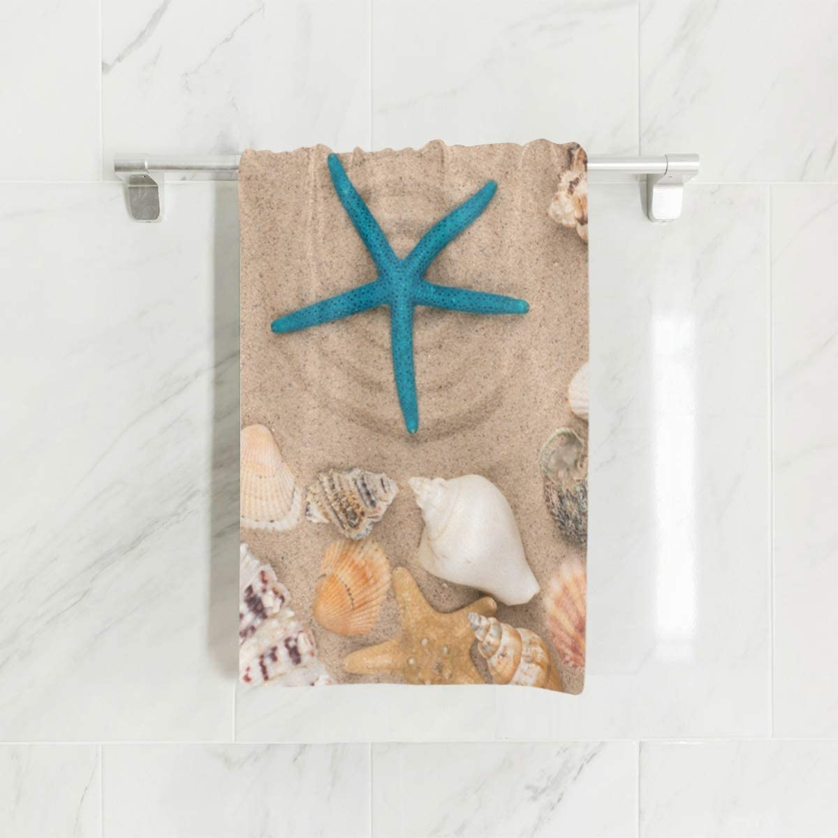 """WIHVE Hand Towels, 30"""" x 15"""", Starfish Seashells Stars Multipurpose Towels Extra Absorbent for Bath,Hand, Face, Gym and Spa"""