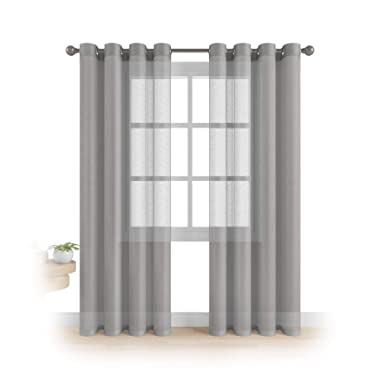 """MEMIAS Grommet Semi Sheer Luxury 2 Panels Total Wide 108"""" (Each Curtain 54""""Wx72""""L) Window Home Decor and Upscale Design Light Penetrating & Privacy Soft Durable Polyester Easy Upkeep (Morning Gray"""
