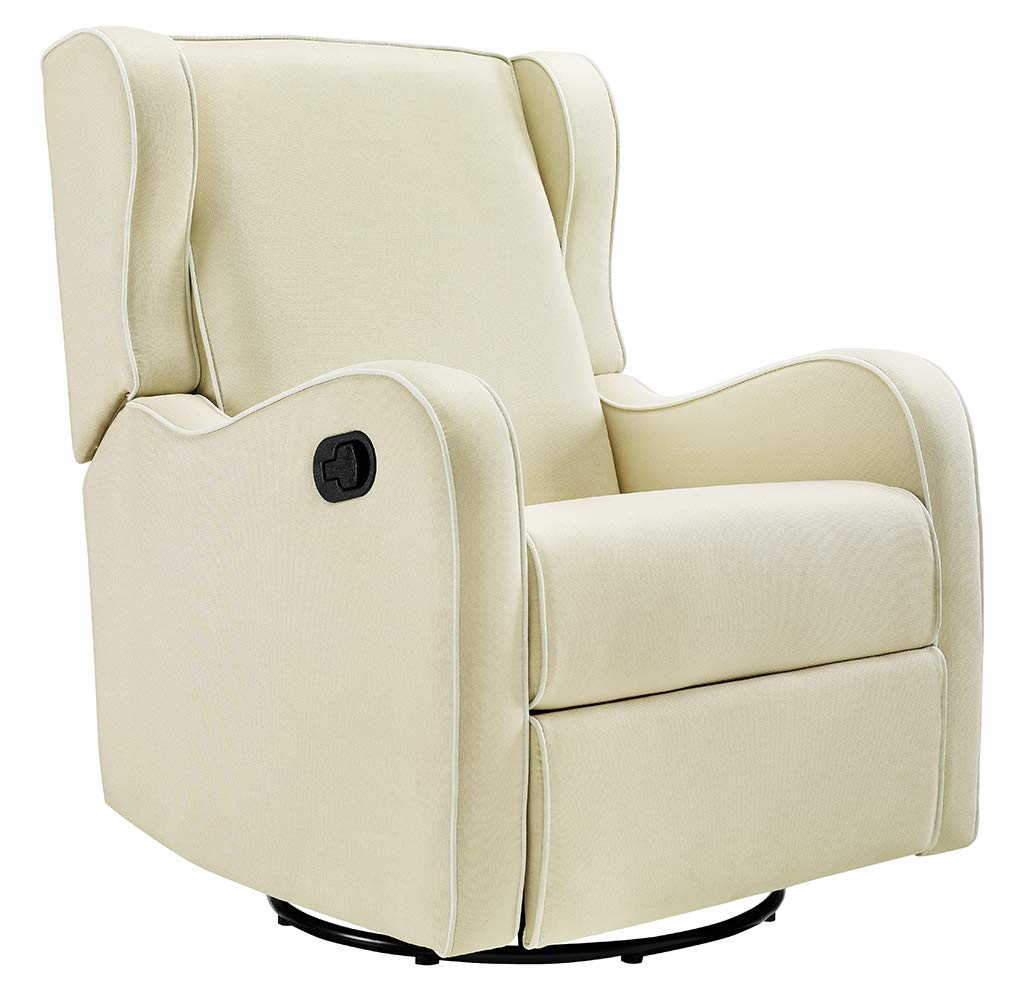 Angel Line Rebecca Upholstered Swivel Gliding Recliner, Beige/White by Angel Line