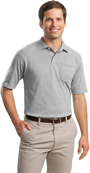 Jerzees Mens SpotShield Jersey Knit Sport Shirt with Pocket