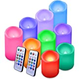 Flameless Candles Led Candle Waterproof Outdoor Candles Color Changing Candle with Remote Control and Timer Pack of 9 Plastic