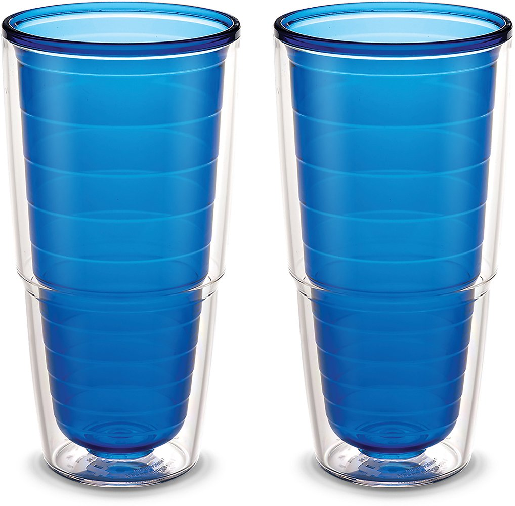 Tervis 1096471 Clear & Colorful Insulated Tumbler 2 Pack - Boxed, 24 oz Tritan, Sapphire