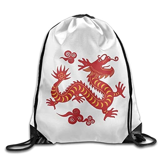 bc62956d36 Image Unavailable. Image not available for. Color  Dragon Chinese Print  Drawstring Backpack Rucksack Shoulder Bags Gym Bag ...