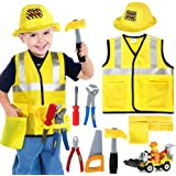Construction Worker Costume Kids Role Play Dress up Set for 2 3 4 5 6 Years Toddlers Boys Girls Yellow