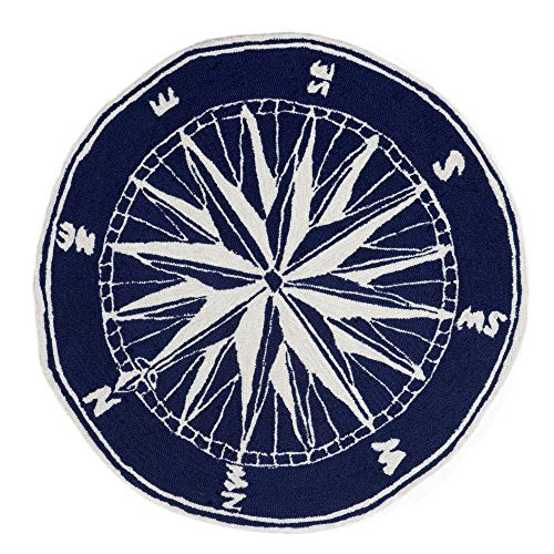 Liora Manne FTPD3144733 Front Porch Whimsy Coastal Nautical Mariner Sailor Sea Compass Indoor/Outdoor Porch Rug 3' Round Navy and Ivory