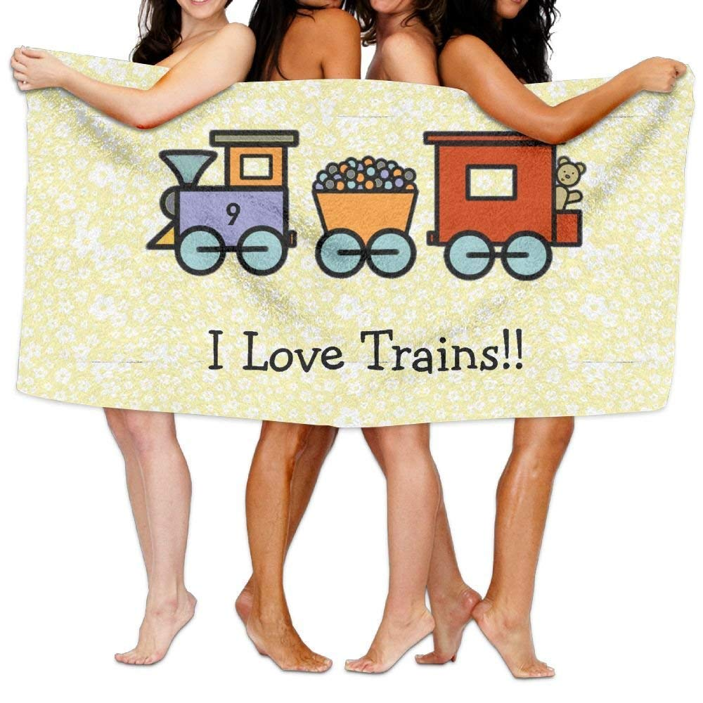 DFLJ I Love Trains Beach Towels Washcloths Bath Towels for Teen Girls Adults Travel Towel Pool and Gym Use 31x51 Inches